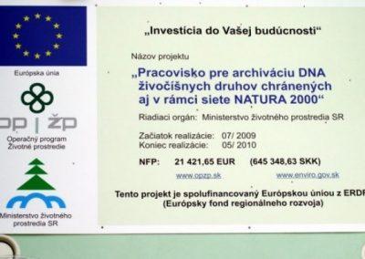 Pracovisko pre archiváciu DNA živočíchov chránených aj v rámci siete NATURA 2000